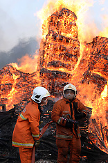 FEB 27 2014 Fire fighters put out fire at a wood factory