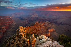 A moody sunrise from the South Rim of Grand Canyon National Park.