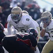Salesianum defensive tackle Jamal Whittlesey (76) lines up at line of scrimmage in the second quarter during a regular season football game between No. 2 Salesianum and No.1 William Penn Saturday, Oct. 31, 2015 at William Penn High School in New Castle.
