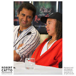 Actors Cliff Curtis and Rawiri Pene answer questions at the press conference before the premiere of the film River Queen in Wanganui, New Zealand.<br />