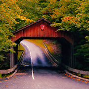 &quot;Autumn Covered Bridge Painting&quot; <br /> <br /> A lovely digital oil painting of the scenic covered bridge on Pierce Stocking Drive located in Sleeping Bear Dunes National Lake Shore.