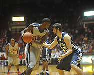 """Ole Miss forward Terrance Henry (1) against Penn State forward Billy Oliver (35) at the C.M. """"Tad"""" Smith Coliseum on Friday, November 26, 2010. Ole Miss won 84-71."""