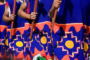 """Detail of Inca soldiers clothing showing the Chacana Andina or Andean cross. Inti Raymi """"Festival of the Sun"""", Plaza de Armas, Cusco, Peru."""