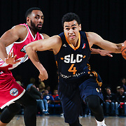 Delaware 87ers Forward SHANE EDWARDS (13) attempts to defend Salt Lake City Stars Guard MARCUS PAIGE (4) in the second half of an NBA D-league regular season game between the Delaware 87ers and the Salt Lake City Stars (Utah Jazz) Friday, March 17, 2017 at The Bob Carpenter Sports Convocation Center in Newark, DEL