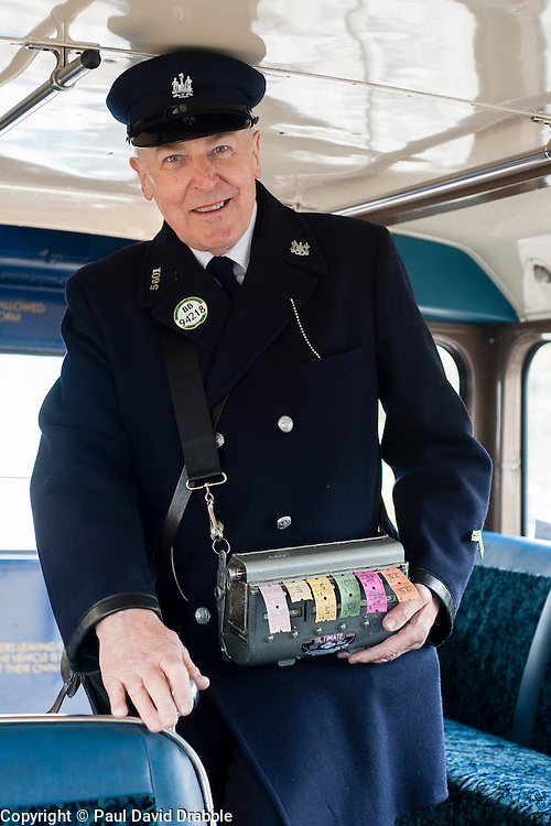 """""""Tickets Please"""" Olive Grove Bus bus depot open day on Saturday,  Former Bus Conductor and Driver Bob Hallam in a 1960's Conductors Uniform ..12 May 2013.Image © Paul David Drabble"""