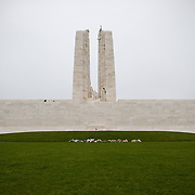 The front of the ‪Canadian National Vimy Memorial‬ dedicated to the memory of Canadian Expeditionary Force members killed in World War one. The monument is situated at a 100 hectare preserved battlefield with wartime tunnels, trenches, craters and unexploded munitions. The memorial designed by Walter Seymour Allward opened in 1936.