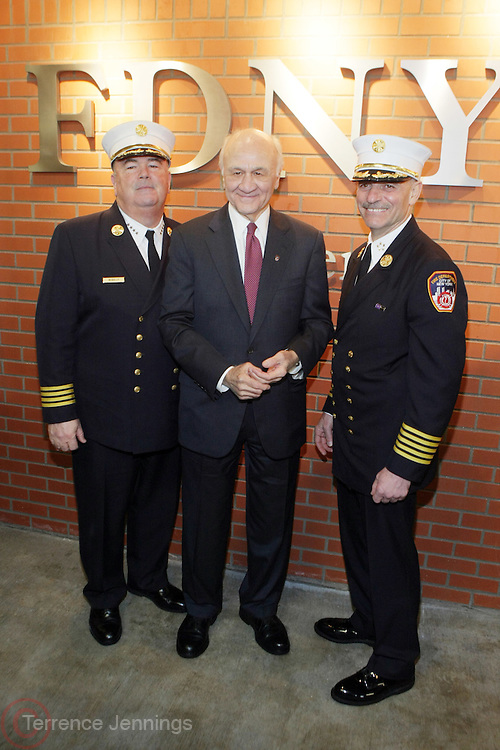 l to r: Chief McNally, Nicholas Scoppetta, and  Salvatore Cassano at The Leary FireFighters Foundation dedicates High-Rise Simulator in New York City at The FDNY Training Academy on Randall's Island on March 19, 2009..The Leary Firefighters Foundation, in partnership with The FDNY Foundation dedicates a state-of-art High Rise Training Simulation Facility. The first and only of its in the kind in the country, the simulator will help firefighters improve their skills in combating the difficulties of fighting fires in high-rise buildings, performing rescues, and saving lives under extreme conditions.
