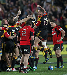 Chiefs' Aaron Cruden jumps in the air to celebrate victory over the Crusaders in the semi-final Super Rugby match, Waikato Stadium, Hamilton, New Zealand, Friday, July 27, 2012.  Credit:SNPA / David Rowland