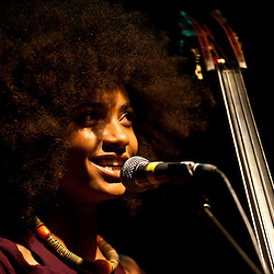 London, UK - 28th May 2012: Esperanza Spalding performs live at the Koko Club. Esperanza is a grammy-award winner bassist, vocalist and composer from Portland, Oregon and begun her solo artist career in 2008. <br />