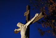 Scene at Our Lady of Good Help Shrine depicts Jesus on the cross at Mount Calvary. (Sam Lucero photo)