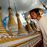 Portrait of a Burmese boy at a Stupa at Inle Lake