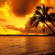 Spectacular fiery sunrise on Kauai, the Garden Isle, Hawaii.
