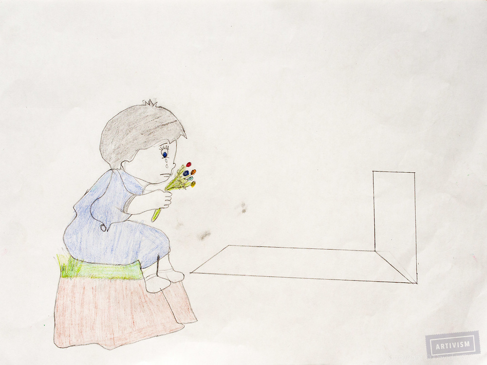 """A girl at her father's grave."" Drawing by Syrian girl, age 13. (Topic for this session: dealing with loss.)"