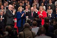 19 MAR 2017, BERLIN/GERMANY:<br /> Torsten Albig, SPD, Ministerpraesident Schleswig-Holstein, Hannelore Kraft, SPD, Ministerpraesidentin Nordrhein-Westfalen, Martin Schulz, SPD, und Anke Rehlinger, Spintzenkandidtain SPD Saarland, (v.L.n.R.), nach der Rede von Schulz vor seiner Wahl zum SPD Parteivorsitzenden und SPD Spitzenkandidat der Bundestagswahl, a.o. Bundesparteitag, Arena Berlin<br /> IMAGE: 20170319-01-062<br /> KEYWORDS: party congress, social democratic party, candidate, Jubel, klatschen, Applaus, applause