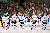 KELOWNA, CANADA - OCTOBER 2:  The Los Angeles Kings line up with the Edmonton Oilers for Kraft Hockeyville pre season on October 2, 2016 at Kal Tire Place in Vernon, British Columbia, Canada.  (Photo by Marissa Baecker/Shoot the Breeze)  *** Local Caption ***