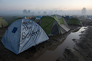 Tents set up on agricultural land in a migrant camp on the Macedonian border. Idomeni, Greece, March 8, 2016.