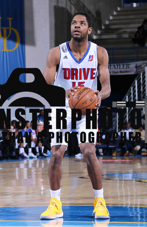 Grand Rapids Drive Guard Kelsey Barlow (15) attempts a free throw in second half of a NBA D-league regular season basketball game between the Delaware 87ers and the Grand Rapids Drive (Detroit Pistons) Saturday, Apr. 04, 2015 at The Bob Carpenter Sports Convocation Center in Newark, DEL.