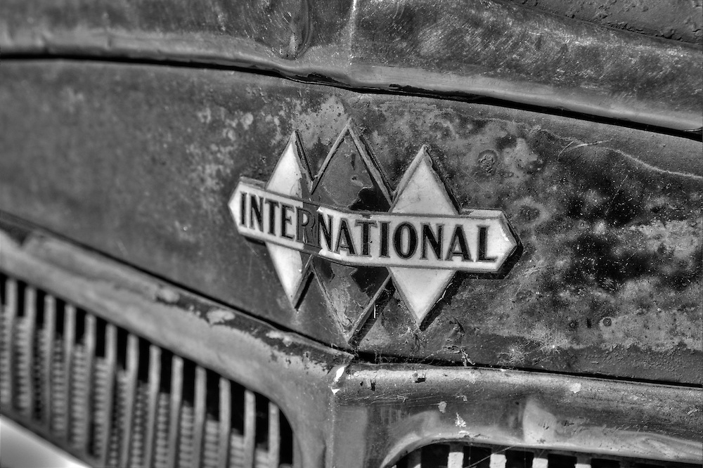 Vintage International Truck Triple Diamond Emblem - Motor Transport Museum - Campo, CA - Black & White