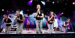 Boyzone, the Irish vocal pop group comprising Mikey Graham, Keith Duffy, Ronan Keating, Shane Lynch and Stephen Gately, perform on stage at Edinburgh Castle, July 18, 2008.