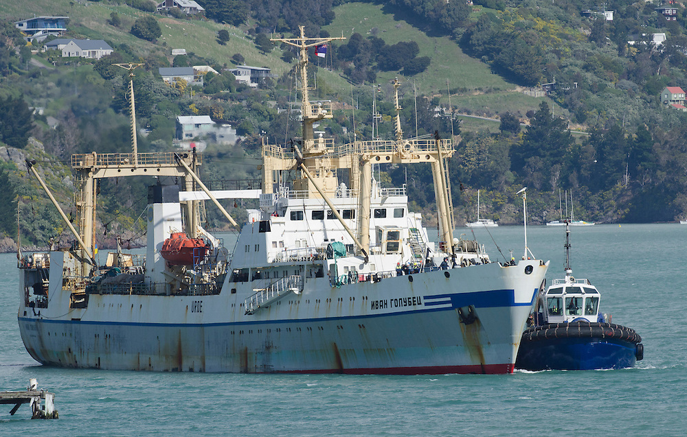 Some of the rescued crew from the fire stricken Amaltal Columbia arrive aboard the Ivan Golubets, Lyttelton New Zealand,  Wednesday 12 September, 2012. Credit: SNPA /  David Alexander.