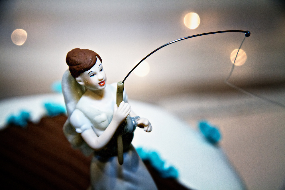 Cakes and Desserts   Dean Oros Photography   Design Hook Line and Sinker  A thematic wedding cake  what a cake topper  The