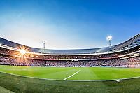 ROTTERDAM - Feyenoord - Olympiakos FC, Voetbal , Seizoen 2015/2016 , oefenwedstrijd , Stadion de Kuip , 01-07-2015 , Overzicht met ondergaande zon van de Kuip