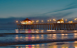 HUNTINGTON BEACH, CA :  Stock photos of the huntington beach pier during sunset. Tel (714) 504-6870. Byline and/or web usage link must read 2007-2012 © Eduardo E. Silva/SILVEX.PHOTOSHELTER.COM.