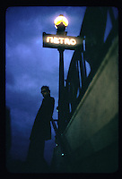 Man outside a Paris metro station - Photograph by Owen Franken - Photograph by Owen Franken