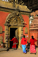 The Golden Gate, or Sun Dohka is the main entrance to the 55 Window Palace on Durbar Square, Bhaktapur. The four headed, and ten armed goddess Taleju Bhawani is prominently placed just above the doorway.