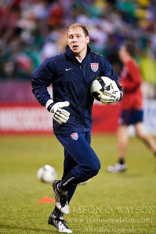 United States goalkeeper Brad Guzan (18).  The United States men's soccer team defeated the Mexican national team 2-0 in CONCACAF final group qualifying for the 2010 World Cup at Columbus Crew Stadium in Columbus, Ohio on February 11, 2009.