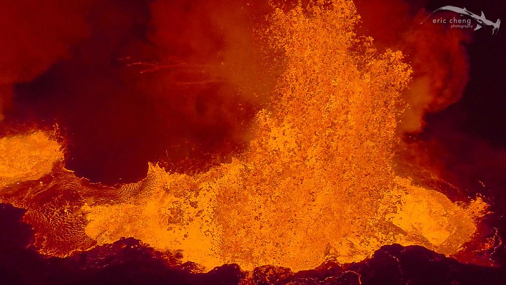 Aerial image of Holuhraun volcano eruption, Bardarbunga volcanic system, Iceland. Screenshot from video taken using DJI Phantom 2 and GoPro.