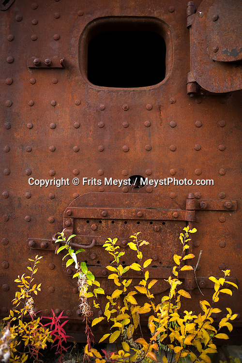 Yukon Territory, Canada, September 2014. a steam boiler in Keno city was used for the silver mine. Gold Rust! Remnants of the Klondyke Gold Rush Left in the Yukon Landscape. The Yukon Territory received world fame during the Klondike Gold Rush in 1898.  Photo by Frits Meyst / MeystPhoto.com