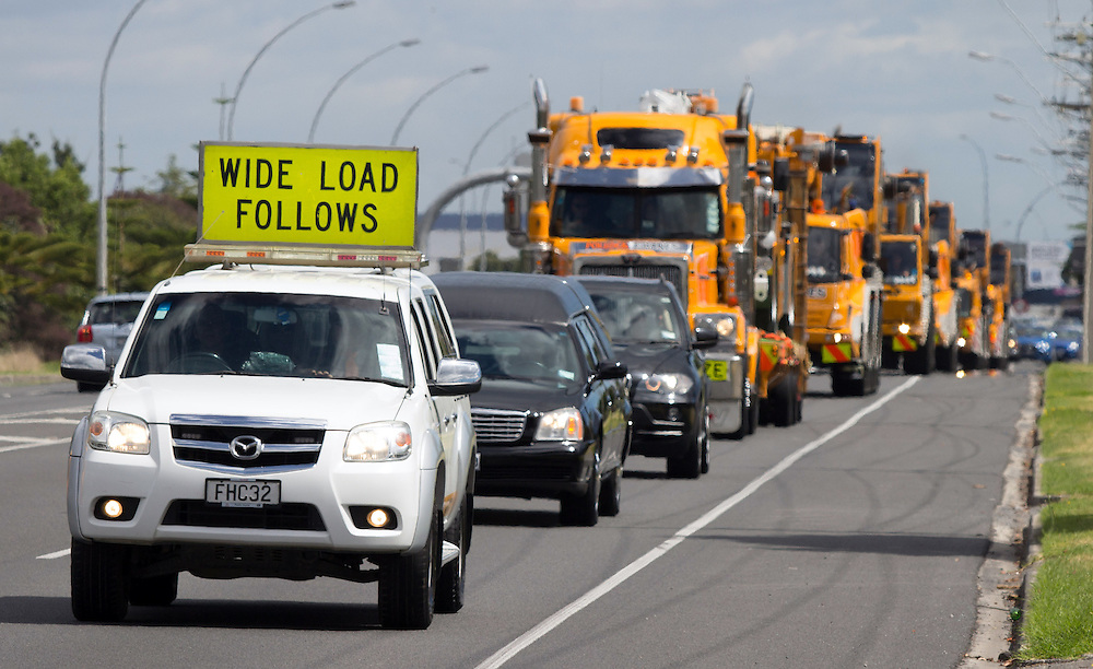 An unusal funeral procession for 70-year-old Rex Pollock, a legend of the crane hirage business and Tauranga speedway died after a long battle with cancer, Tauranga, New Zealand, Saturday February 14, 2015. Credit:SNPA / Cameron Avery