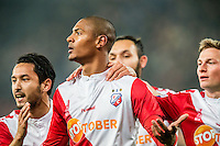 UTRECHT - Utrecht - Roda JC , Voetbal , Eredivisie, Seizoen 2015/2016 , Stadion Galgenwaard , 17-10-2015 , FC Utrecht speler Sébastien Haller (m) viert zijn doelpunt voor de 1-0