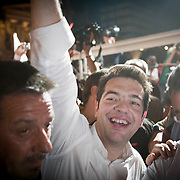 Mr Tsipras leads the party Syriza to second place in the elections in Greece, this breaks the trend of the two main leading parties (New Democracy and Pasok) for over 30 years.  They went on to win with the second largest percentage (16.7%) in parliament. Image © Angelos Giotopoulos/Falcon Photo Agency