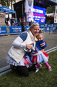 May 20, 2015 - New York, NY. Margaret McClockey and her daughter enjoy the pre-game festivities at Bryant Park, prior to the beginning of Game 3 of Rangers VS Tampa. Photograph by Anthony Kane/NYCity Photo Wire