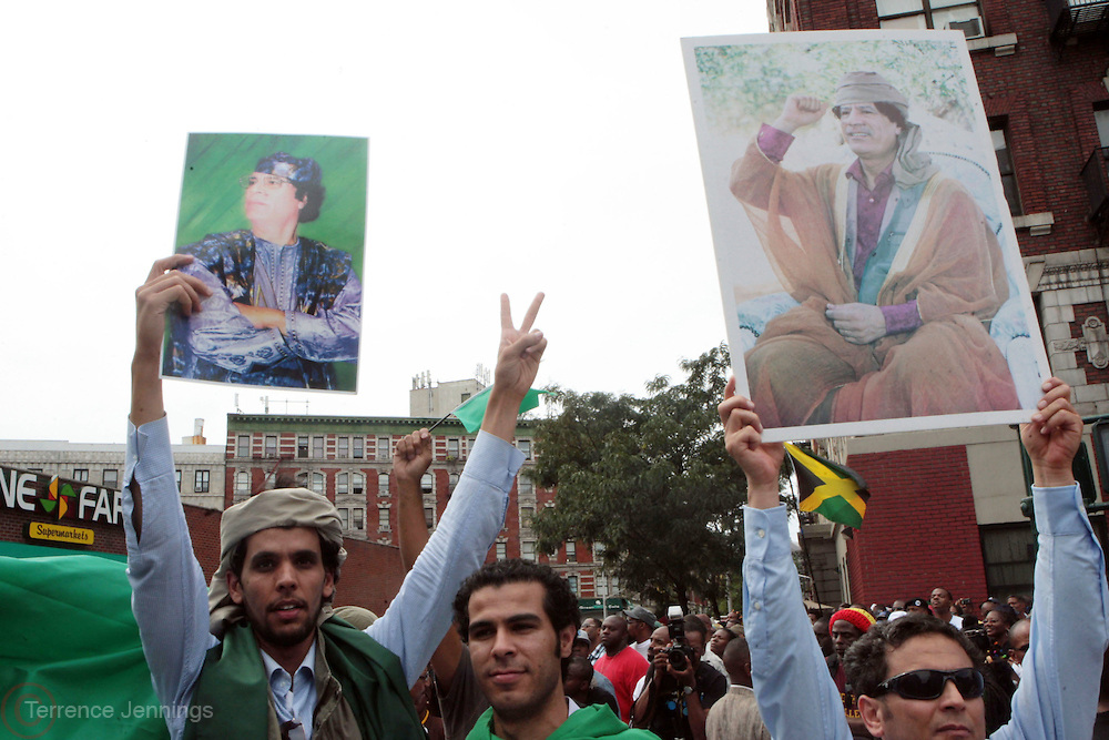 New York, NY-August 13-  An image of Muammar Muhammad al-Gaddafi displayed at the Millions March in Harlem with keynote speaker Hon. Louis Farrakhan held at the corner of West 110th and Lenox Avenue in Harlem on August 13, 2011 in New York City. Photo Credit: Terrence Jennings