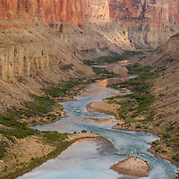 Colorado River in Grand Canyon, looking downstream from the Nankoweap grainery. Commercial trip camped below