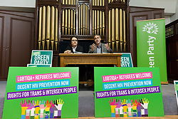 © Licensed to London News Pictures. 28/04/2017. LONDON, UK. JONATHAN BARTLEY, Green Party co-leader, and AIMEE CHALLENOR, Green Party LGBTIQA+ spokesperson at the Green Party LGBTIQA+ manifesto launch, at Trinity United Reform Church in London. Jonathan Bartley and Aimee Challenor today set out set out the Green Party LGBTIQA+ manifesto pledges, including commitment to provide the HIV prevention drug PrEP on the NHS.  Photo credit: Vickie Flores/LNP