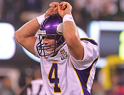 Oct 11, 2010; East Rutherford, NJ, USA; Minnesota Vikings quarterback Brett Favre (4) reacts to an incomplete pass during the second half of their game agains the New York Jets at the New Meadowlands Stadium. The Jets defeated the Vikings 29-20.
