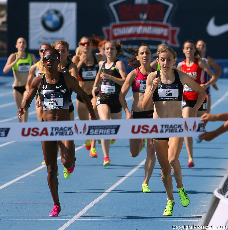 MOSER.CAIN - 13USA, Des Moines, Ia. - Treniere Moser edged Mary Cain in the 1500.  Photo by David Peterson