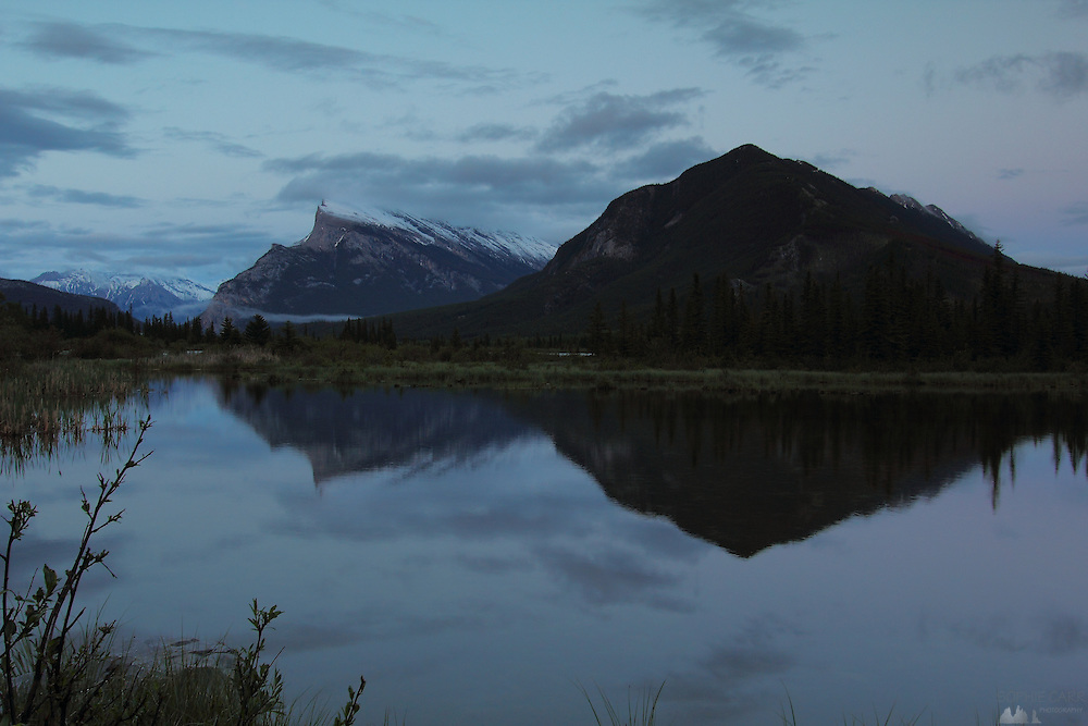 Views of the mountains across the Vermillion Lakes, just outside Banff Townsite, in Banff National Park, Alberta