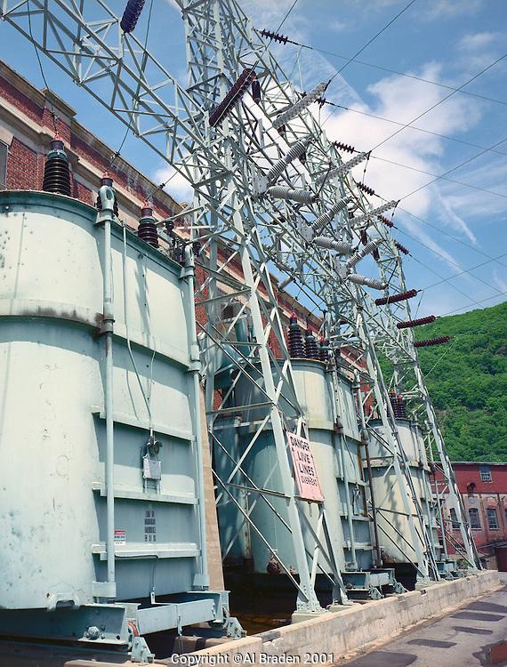 High power transformers provide output from Bellows Falls Station, Bellows Falls, VT