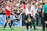 ROTTERDAM - Feyenoord - Vitesse , Voetbal , Seizoen 2015/2016 , Eredivisie , De Kuip , 23-08-2015 , Speler van Feyenoord Rick Karsdorp (l) valt geblesseerd uit en daarna komt Speler van Feyenoord Eric Botteghin (r) in het veld