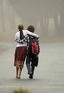 Bethlehem, New Hampshire. Friends walk at the campus of The White Mountain School.(Photo by Robert Falcetti)