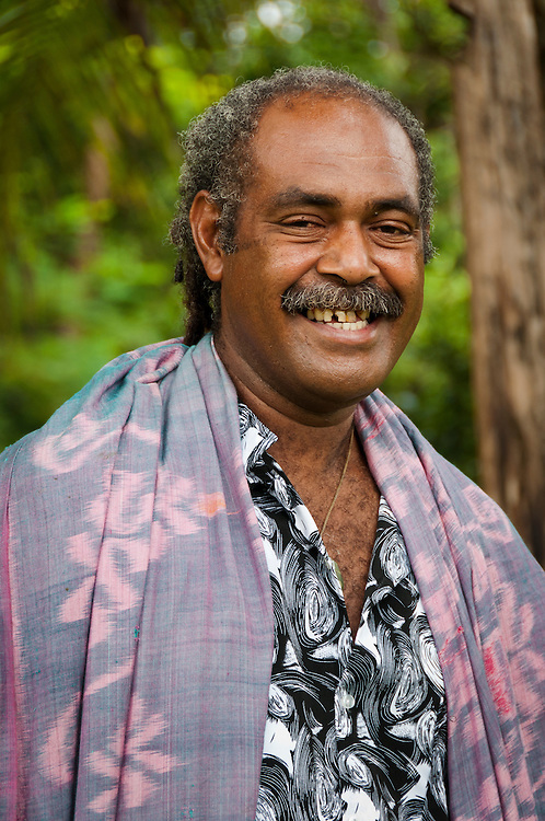 Tui Talili of Bulou's Eco Lodge, Navala Village, Viti Levu Island, Fiji.