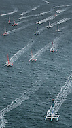 Start of the 2014 Route Du Rhum. Oman Musandam MOD70 skippered by Sidney Gavignet (FRA)<br /> Credit: Mark Lloyd/Lloyd Images