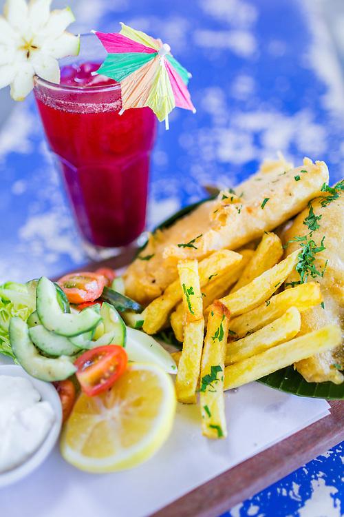 Old Man's Fish & Chips: Beer battered barramundi with hand cut chips, Asian slaw, tartare & lemon and Blood Boiler Juice - Carrot, beetroot, apple, ginger.
