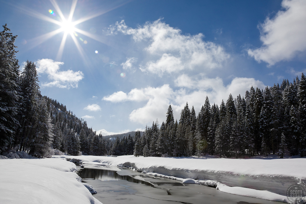 """Snowy Truckee River 2"" - Photograph of an iced over and snowy Truckee River in the winter."