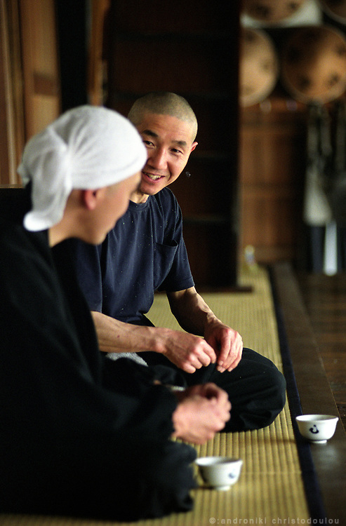 LIVING ZEN - HOSHINJI MONASTERY, OBAMA-JAPAN..A small break for tea between the work hours.
